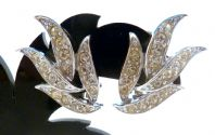Vintage Rhinestone Leaf Design Clip On Earrings By Sarah Coventry.